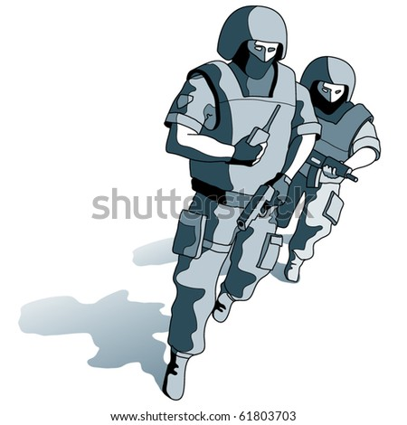 Special Operations running Group - stock vector