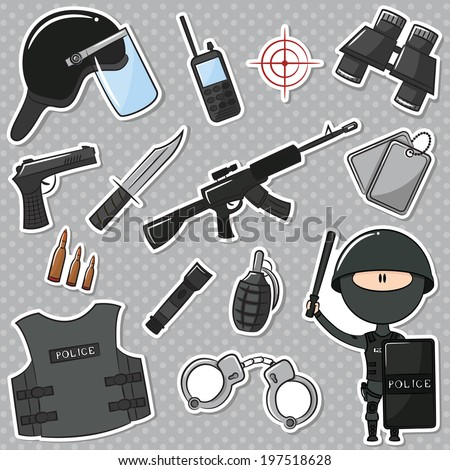Special Police Officer With Tools And Weapons - stock vector