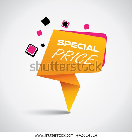 Special price bubble with vibrant orange and pink colors - stock vector