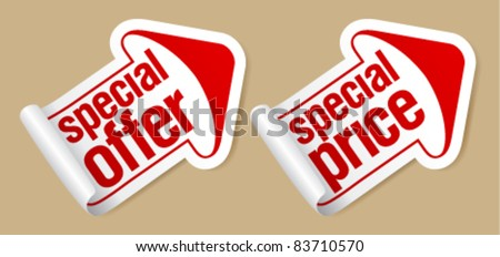 Special price stickers in form of arrow.