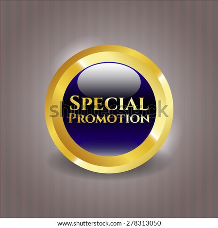 Special promotion blue gold shiny badge - stock vector