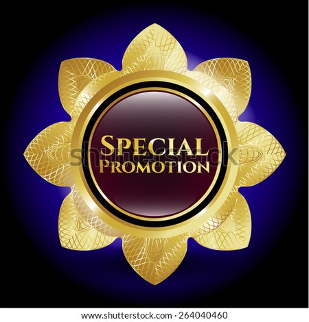 Special promotion golden flower. Gold badge. - stock vector