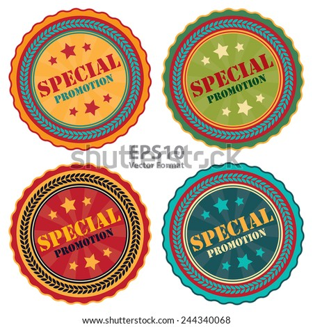 special promotion sign on vintage, retro stamp, icon, badge, label isolated on white, vector format