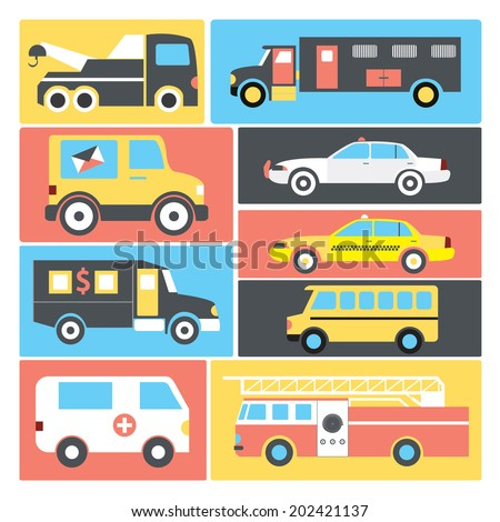 Special purpose vehicles / Vector cars / Flat icon set