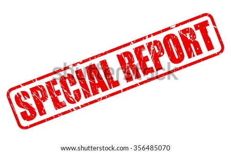 SPECIAL REPORT red stamp text on white - stock vector