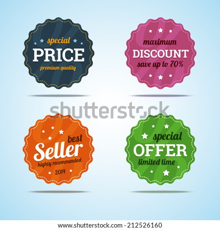 Special set of premium sale badges in flat style. Vector illustration.