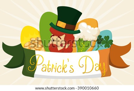 Special set of St. Patrick's Day elements: leprechaun elf, gold coins, lucky clovers and foamy beer! - stock vector