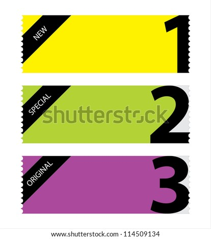 special tickets with numbers - stock vector