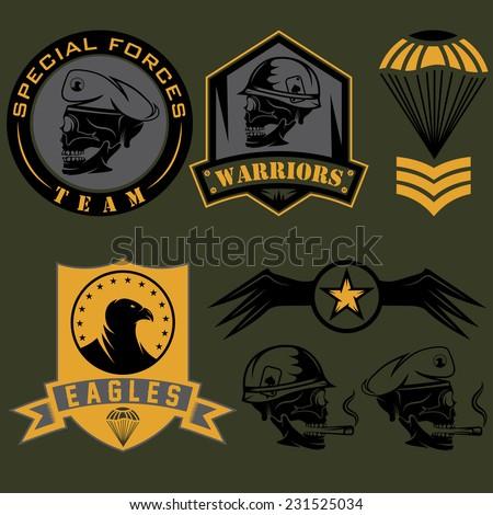 Special unit military emblem set vector design template  - stock vector