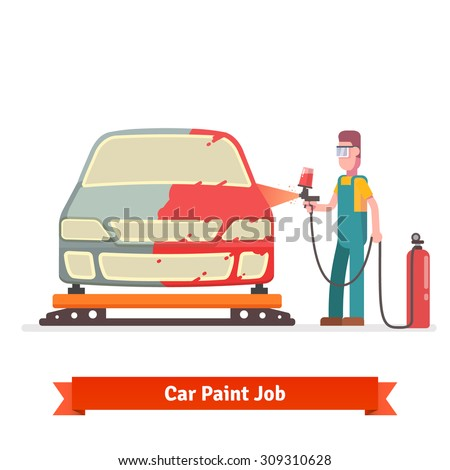 Specialist spray painting auto body at car collision repair shop. Flat style vector illustration isolated on white background. - stock vector