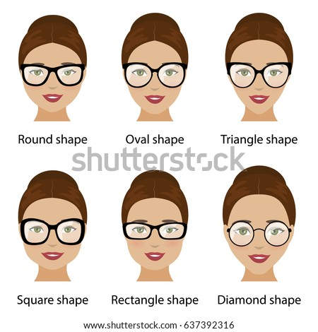 Spectacle Frames Shapes Different Types Women Stock Vector ...