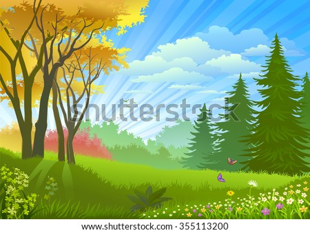 Spectacular rays of light streaming over a beautiful forest  - stock vector