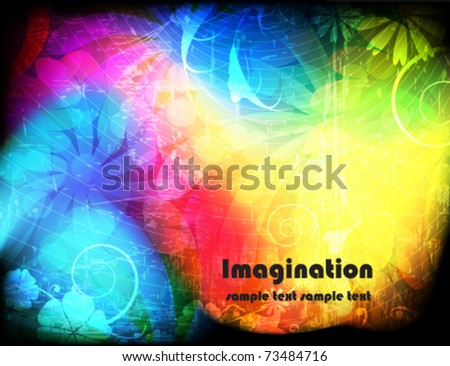 Spectral background with vegetative elements - stock vector