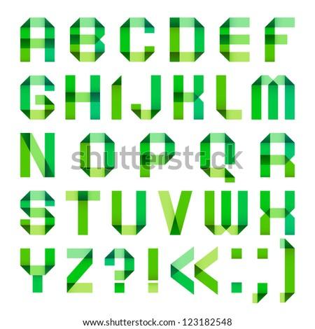 Spectral letters folded of paper ribbon-green. Roman alphabet (A, B, C, D, E, F, G, H, I, J, K, L, M, N, O, P, Q, R, S, T, U, V, W, X, Y, Z). - stock vector
