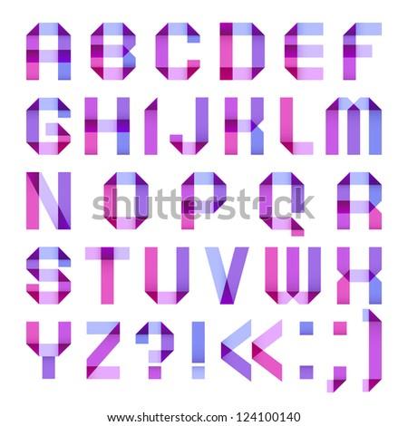 Spectral letters folded of paper ribbon-purple. Roman alphabet (A, B, C, D, E, F, G, H, I, J, K, L, M, N, O, P, Q, R, S, T, U, V, W, X, Y, Z). - stock vector