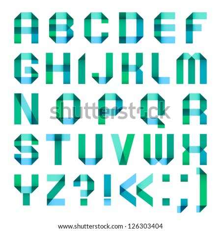 Spectral letters folded of paper ribbon-turquoise - Roman alphabet (A, B, C, D, E, F, G, H, I, J, K, L, M, N, O, P, Q, R, S, T, U, V, W, X, Y, Z) - stock vector