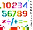 Spectral numbers folded of paper ribbon color - Arabic numerals (0, 1, 2, 3, 4, 5, 6, 7, 8, 9), vector illustration - stock photo