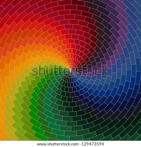 Spectrum wheel made of bricks. Rainbow color spectrum grunge background. Square composition with geometric color flow effect. ?olor wheel - stock vector