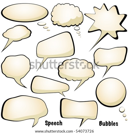 Speech and thought bubbles isolated on white vector - stock vector