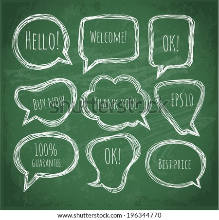 Speech and thought bubbles on blackboard. Vector illustration. - stock vector