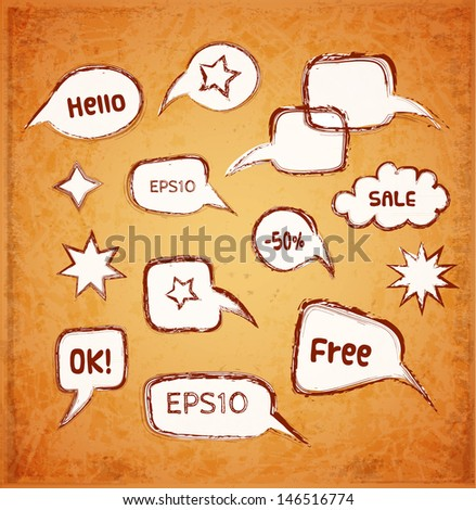 Speech and thought bubbles on vintage background. Old paper texture. Vector illustration. - stock vector