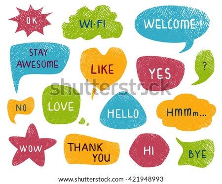 Speech and thought bubbles set, funny and cute coloring style. Collection of Doodle designs with short messages. Hand drawn vector illustration.