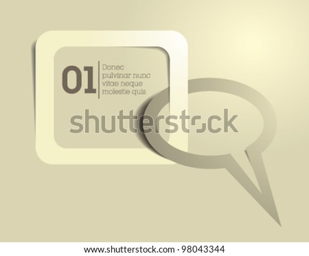 speech bubble and text box vector / beige / simple modern design - stock vector
