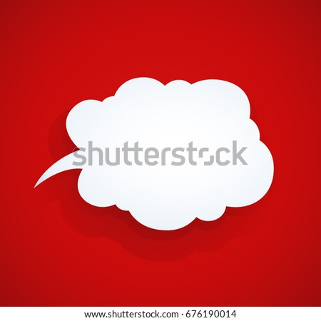Speech bubble at red background. Vector illustration.