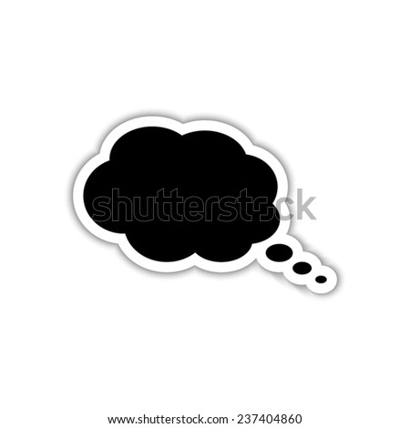 speech bubble - black vector icon with shadow