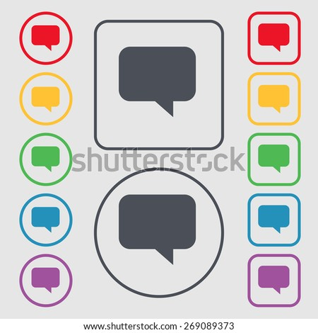 speech bubble, Chat think icon sign. symbol on the Round and square buttons with frame. Vector illustration