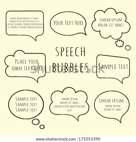 Speech bubble collection. Set of  hand-drawn speech and thought bubbles with sample text isolated on beige background. Vector illustration.  - stock vector