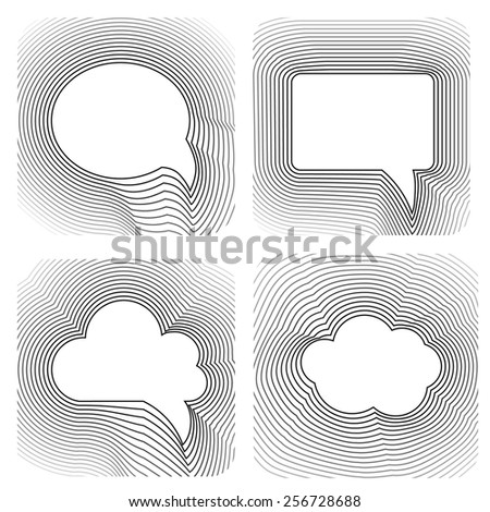 Speech bubble collection vector set black white