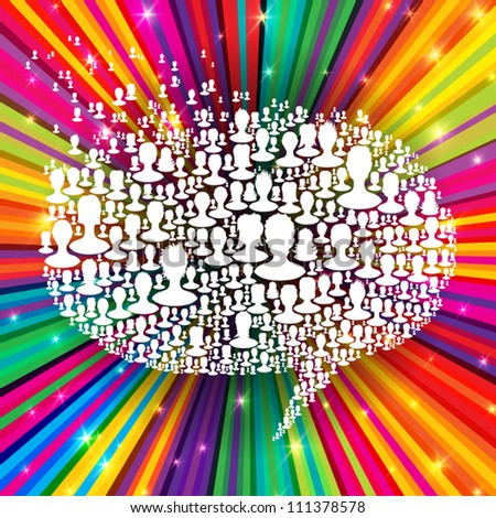 Speech bubble, composed from many people silhouettes on colorful rays background. Social network concept, vector, EPS10 - stock vector