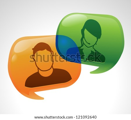 Speech bubble conversation exchanged for customer service - stock vector