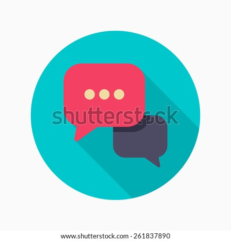 Speech bubble flat icon with long shadow on blue circle background , vector illustration , eps10 - stock vector