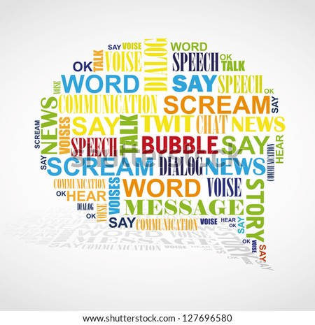 Speech bubble formed by color words like word cloud. - stock vector