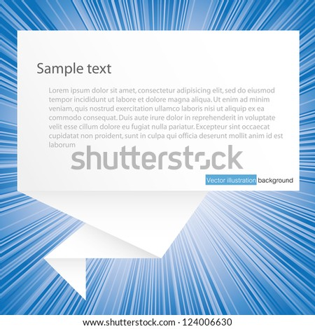 speech bubble from paper on burst background : blue - stock vector