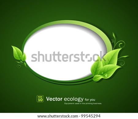 Speech bubble green leaf ecology, vector illustration - stock vector