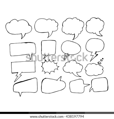 Speech bubble hand drawing illustration design - stock vector