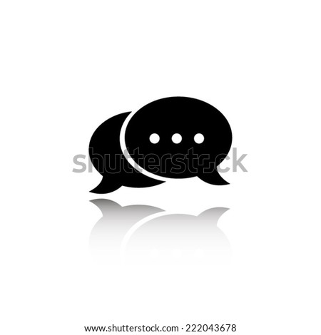 speech bubble icon - black vector illustration with reflection - stock vector