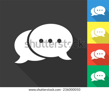 speech bubble icon - gray and colored (blue, yellow, red, green) vector illustration with long shadow - stock vector