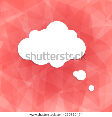 Speech bubble icon on pink background. Vector illustration on trendy and modern abstract polygonal geometric background. Pink triangular texture with white think cloud symbol. Web chat icon - stock vector