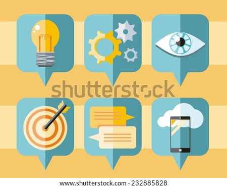 Speech bubble icon set with pictograms of inspire, targeting, idea, organization, vision, application development - stock vector