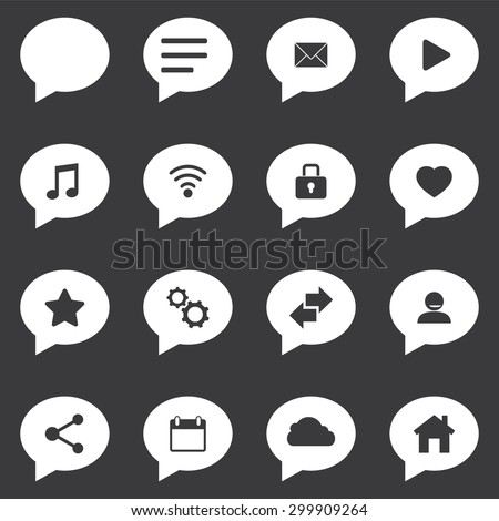 Speech bubble icon set with technology icons - stock vector