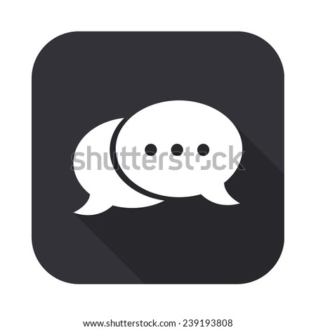 speech bubble icon - vector illustration with long shadow isolated on gray - stock vector