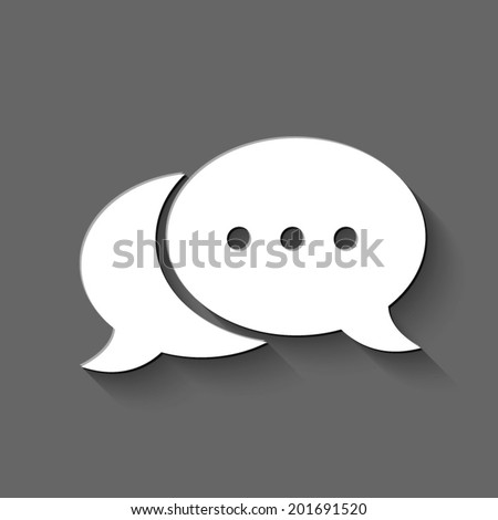 speech bubble icon - white vector illustration with shadow on gray background - stock vector