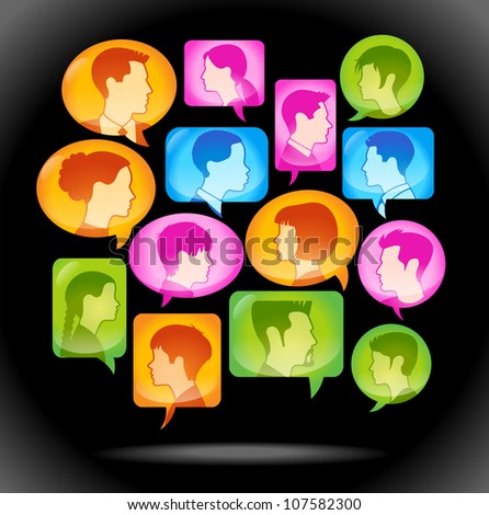 speech bubble icon with people's heads. Vector illustration of the concept of people's communication. File is saved in AI10 EPS - stock vector