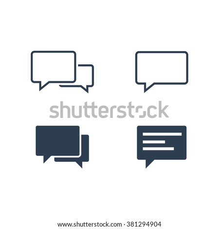 Speech bubble icons isolated on white background. Graphic vector speech bubble icons ai objects. EPS Drawing collection of user interface buttons for website. - stock vector