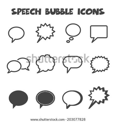 speech bubble icons, mono vector symbols - stock vector
