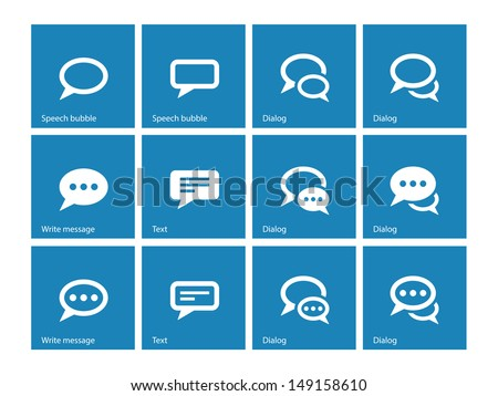 Speech bubble icons on blue background. Vector illustration. - stock vector
